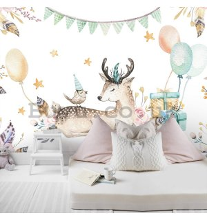 Wall mural vlies: Celebration with animals - 254x184 cm
