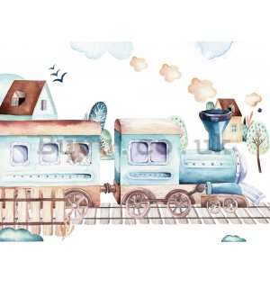 Wall mural vlies: Train with animals - 254x184 cm