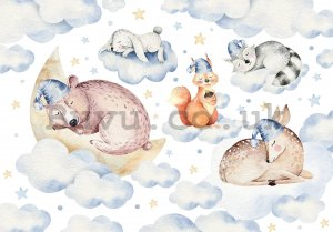 Wall mural vlies: Sleeping animals - 254x184 cm