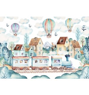 Wall mural vlies: Balloons over the city - 254x184 cm