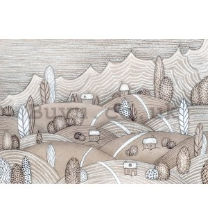 Wall mural vlies: Hills with little houses - 254x184 cm