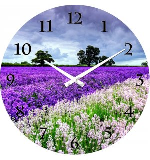 Glass wall clock: Lavender fields - 38 cm
