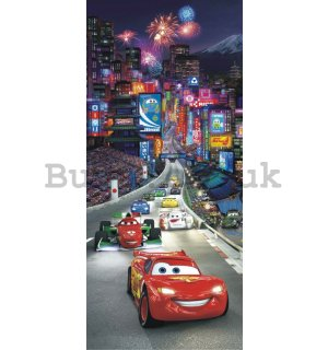 Wall mural vlies: Cars night race - 90x202 cm