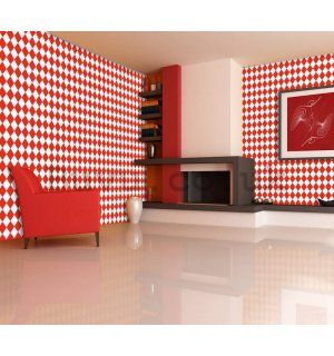 Vinyl wallpaper mosaic red-white pattern