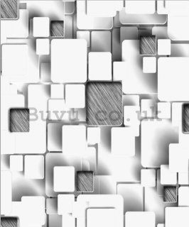 Vinyl wallpaper 3d plastic cubes in white-gray
