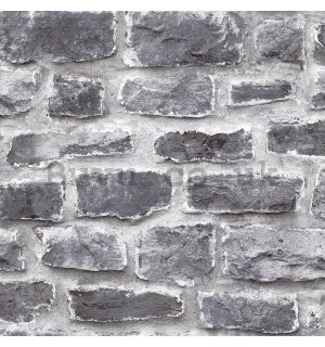 Vinyl wallpaper brick wall - shades of gray