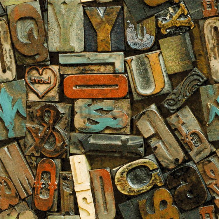 Vinyl wallpaper metal letters