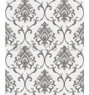 Vinyl wallpaper castle ornaments grey-silver on white background