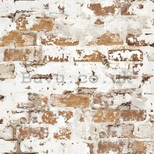 Vinyl wallpaper brown brick wall with white painting