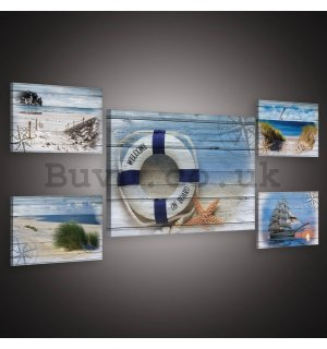Painting on canvas: The sea - set 1pc 70x50 cm and 4pc 32,4x22,8 cm