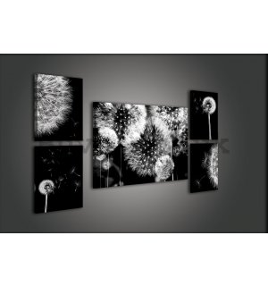 Painting on canvas: Dandelions - set 1pc 70x50 cm and 4pc 32,4x22,8 cm