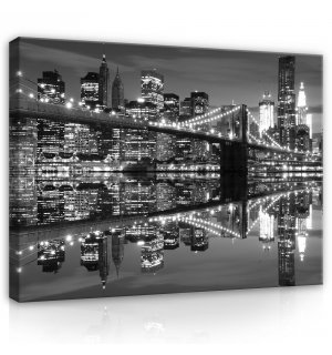 Painting on canvas: Black and White Brooklyn Bridge (3) - 80x60 cm