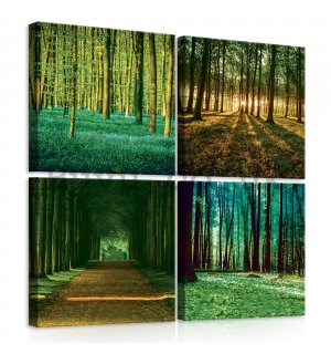 Painting on canvas: Forrest - set 4pcs 25x25cm