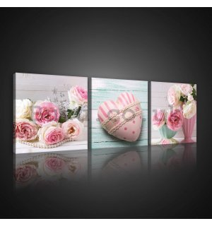 Painting on canvas: Roses and hearts - set 3pcs 25x25cm