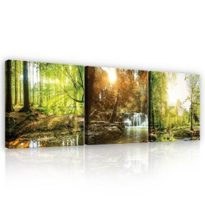 Painting on canvas: Forest stream - set 3pcs 25x25cm