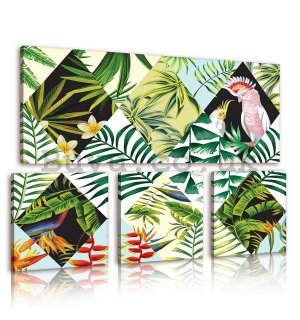 Painting on canvas: Painted Ferns - set 1pc 80x30 cm and 3pc 25,8x24,8 cm