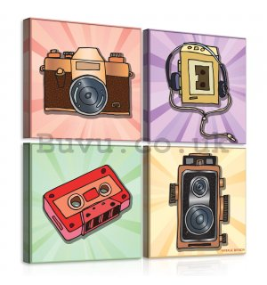 Painting on canvas: Pop Art - set 4pcs 25x25cm