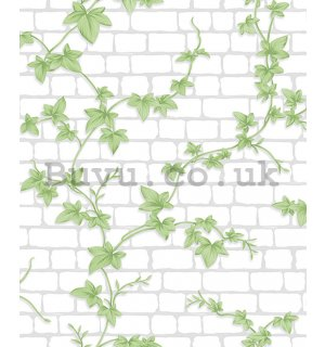 Vinyl wallpaper white brick wall and ivy