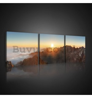 Painting on canvas: Mountain sunset - set 3pcs 25x25cm