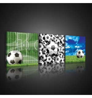 Painting on canvas: Football balls - set 3pcs 25x25cm