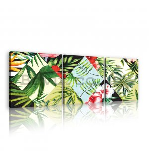 Painting on canvas: Painted tropical flora (1) - set 3pcs 25x25cm