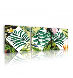 Painting on canvas: Painted tropical flora (2) - set 3pcs 25x25cm