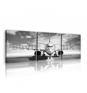 Painting on canvas: Airplane (black and white) - set 3pcs 25x25cm