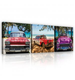 Painting on canvas: Colored car veterans - set 3pcs 25x25cm