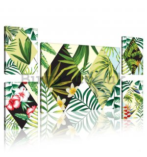 Painting on canvas: Painted tropical flora (3) - set 1pc 70x50 cm and 4pc 32,4x22,8 cm