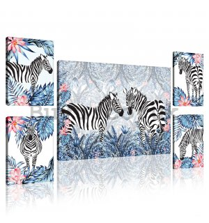 Painting on canvas: Painted zebras (1) - set 1pc 70x50 cm and 4pc 32,4x22,8 cm