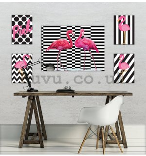 Painting on canvas: Pink flamingos - set 1pc 70x50 cm and 4pc 32,4x22,8 cm