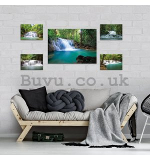 Painting on canvas: Waterfalls (2) - set 1pc 70x50 cm and 4pc 32,4x22,8 cm