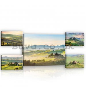 Painting on canvas: Tuscany - set 1pc 70x50 cm and 4pc 32,4x22,8 cm