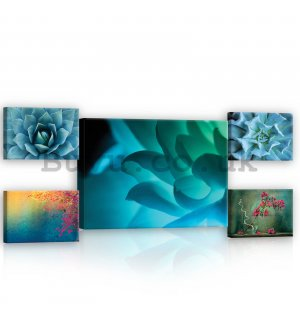 Painting on canvas: Brightly colored floral details - set 1pc 70x50 cm and 4pc 32,4x22,8 cm