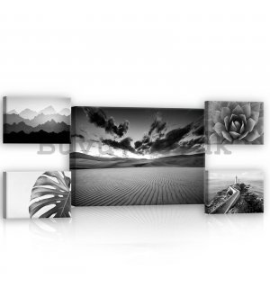 Painting on canvas: Black and white views (1) - set 1pc 70x50 cm and 4pc 32,4x22,8 cm