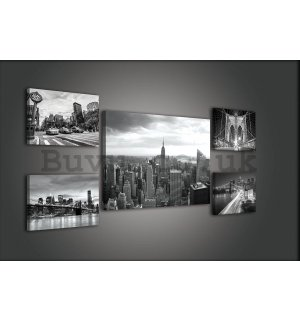 Painting on canvas: Black and White New York (1) - set 1pc 70x50 cm and 4pc 32,4x22,8 cm