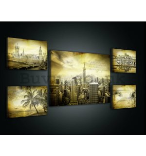 Painting on canvas: Vintage postcard - set 1pc 70x50 cm and 4pc 32,4x22,8 cm