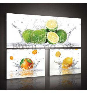 Painting on canvas: Limes - set 1pc 80x30 cm and 2pc 37,5x24,8 cm