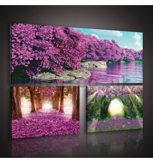 Painting on canvas: Blossoming Alley - set 1pc 80x30 cm and 2pc 37,5x24,8 cm