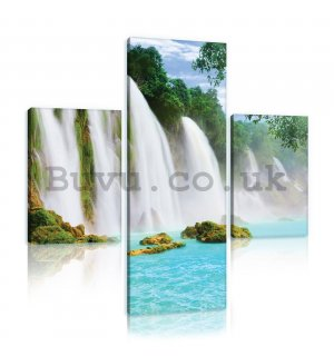 Painting on canvas: Waterfalls (1) - set 1pc 80x30 cm and 2pc 37,5x24,8 cm