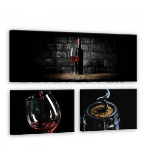 Painting on canvas: Wine (1) - set 1pc 80x30 cm and 2pc 37,5x24,8 cm