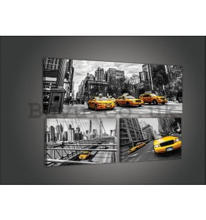 Painting on canvas: New York Taxi (1) - set 1pc 80x30 cm and 2pc 37,5x24,8 cm