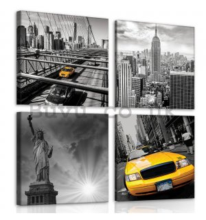 Painting on canvas: New York (1) - set 4pcs 25x25cm