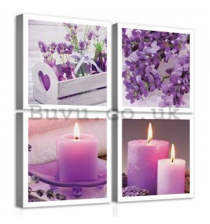 Painting on canvas: Lavender & Candles (1) - set 4pcs 25x25cm