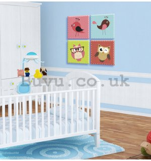 Painting on canvas: Cute Animals (6) - set 4pcs 25x25cm