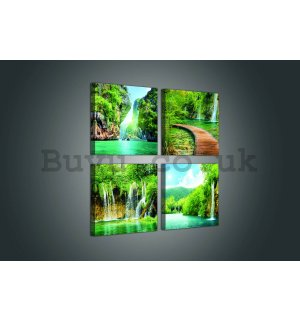 Painting on canvas: Water in nature - set 4pcs 25x25cm