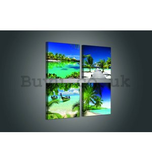 Painting on canvas: Tropical paradise - set 4pcs 25x25cm