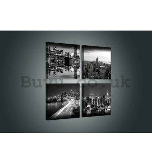 Painting on canvas: Black and White New York (2) - set 4pcs 25x25cm