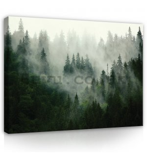 Painting on canvas: Fog over the forest (1) - 100x75 cm