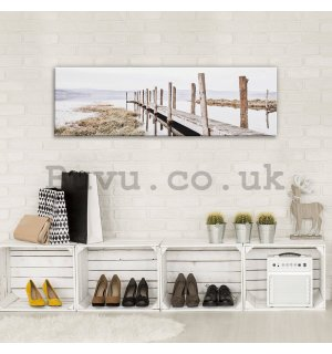 Painting on canvas: Wooden pier (2) - 145x45 cm